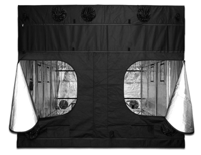black canvas grow tent with viewing window zipped open on the side of the tent, showing reflective interior