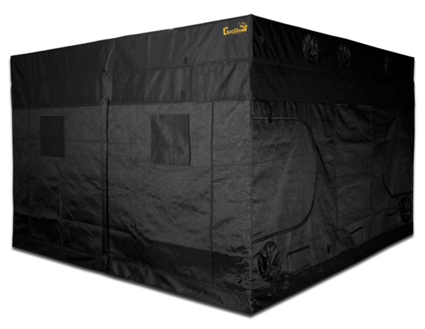 black canvas grow tent with exhaust ducts, 10' wide by 10' deep by 7' tall