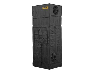 "lightweight black canvas grow tent with exhaust ducts, 2' wide by 2' deep by 5'7"" tall"