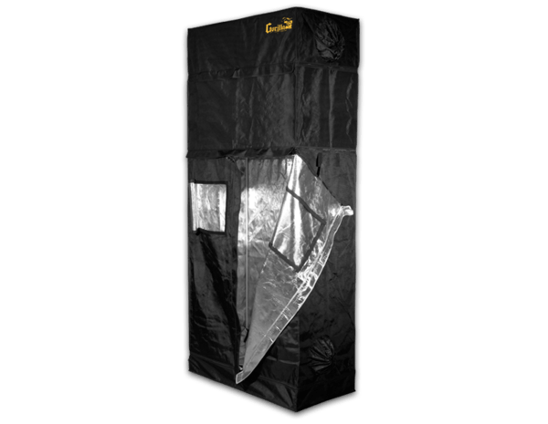 black canvas grow tent with exhaust ducts, 4' wide by 2' deep by 7' tall. Left side of front door is unzipped and right front viewing window is open to show reflective interior.