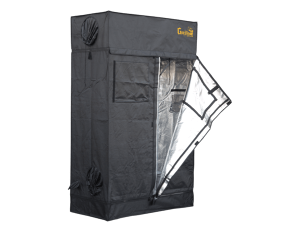 Black 2'x4' Lite Gorilla Grown Tent with all ports, window, and other openings fastened closed.