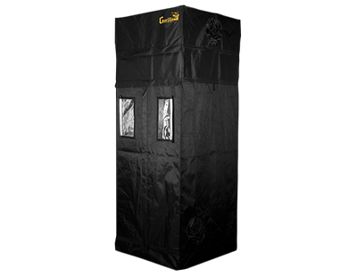 black canvas grow tent with exhaust ducts, 3' wide by 3' deep by 7' tall. Front viewing windows are open to show reflective interior.