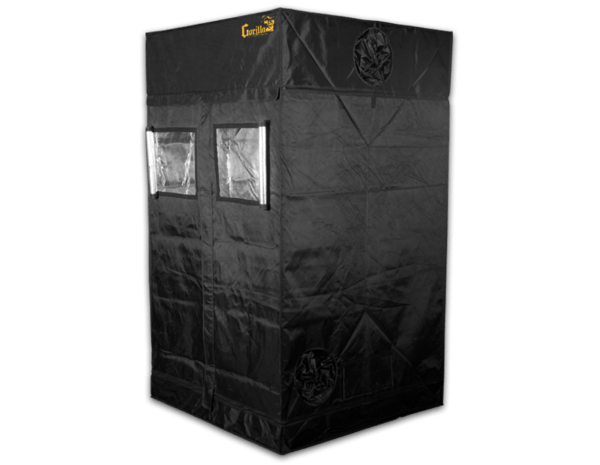 black canvas grow tent with exhaust ducts, 4' wide by 4' deep by 7' tall. Two viewing windows in front of tent are open to show reflective interior.