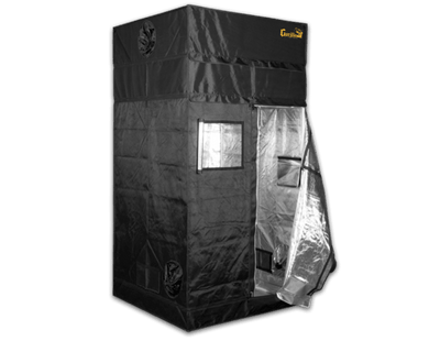 black canvas grow tent with exhaust ducts, door is unzipped and viewing window is open, showing reflective interior