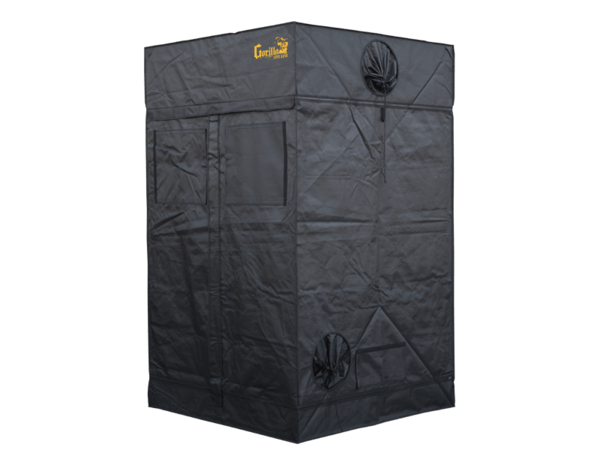 "black canvas grow tent with exhaust ducts, 4' wide by 4' deep by 6'7"" tall"