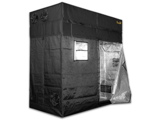 black canvas grow tent with exhaust ducts, 8' wide by 4' deep by 7' tall; door is unzipped and viewing window is open, showing reflective interior