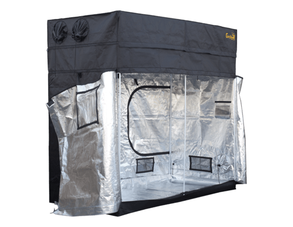 "black canvas grow tent with exhaust ducts, 8' wide by 4' deep by 6'7"" tall, all doors and windows closed"