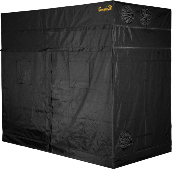 black canvas grow tent with doors, windows, and exhaust ducts, 9' wide by 5' deep by 7' tall