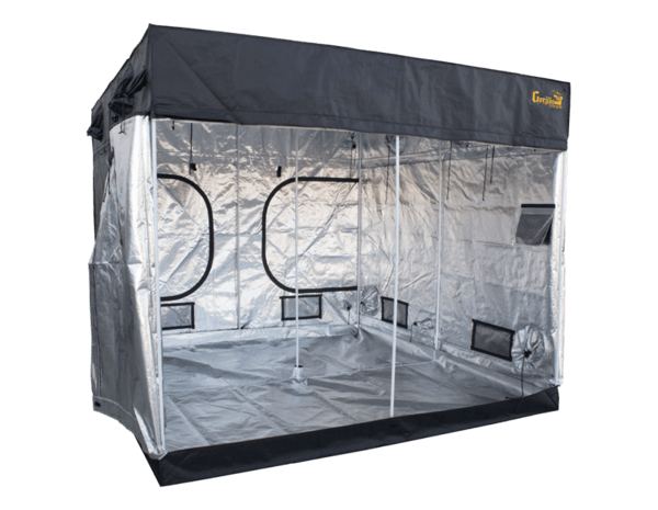 "black canvas grow tent with exhaust ducts, 8' wide by 8' deep by 6'7"" tall. all doors and windows closed"