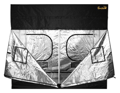 unzipped black canvas grow tent, showing easy access feature