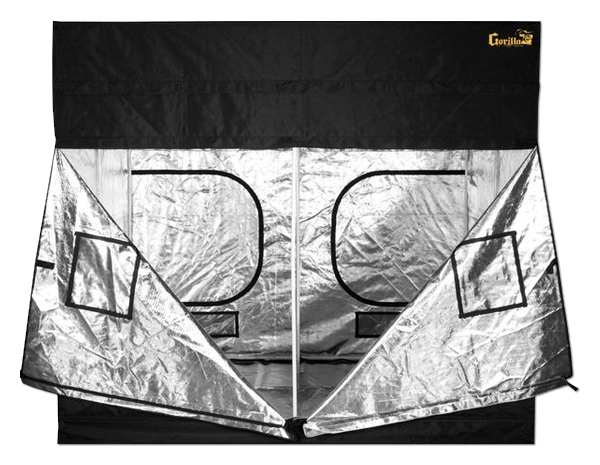 large black canvas grow tent with doors, windows, and exhaust ducts, 9' wide by 9' deep by 7' tall