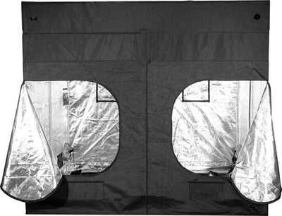 back of black canvas grow tent with large windows zipped open, showing reflective interior