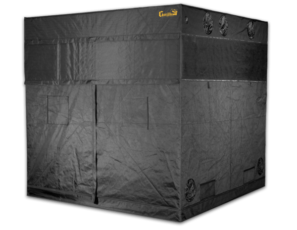 large black canvas grow tent with exhaust ducts, 8' wide by 8' deep by 7' tall