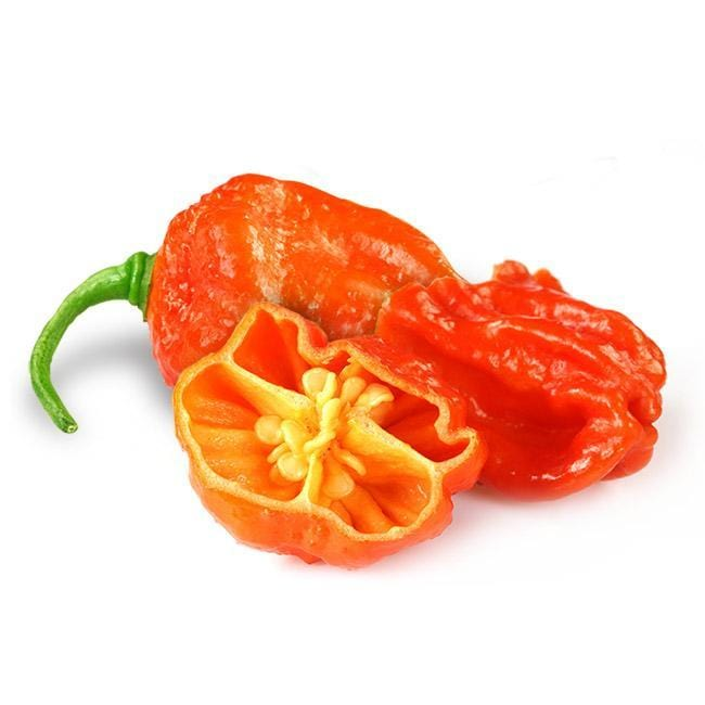 Three orange Dorset Naga Orange Peppers with one cut in half, exposing the seeds inside