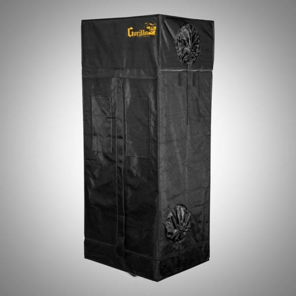 black canvas grow tent with exhaust ducts, 2' wide by 2' deep by 6' tall