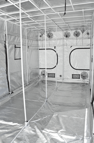 large black canvas grow tent with doors, windows, and exhaust ducts, 16' wide by 8' deep by 7' tall; left front half of grow tent is completely unzipped showing reflective interior and steel white pole structure