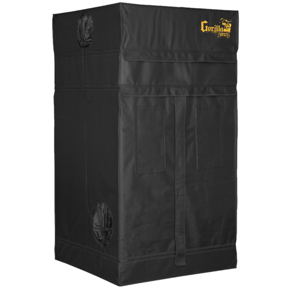 black canvas grow tent with exhaust ducts, 3' wide by 3' deep by 5' tall