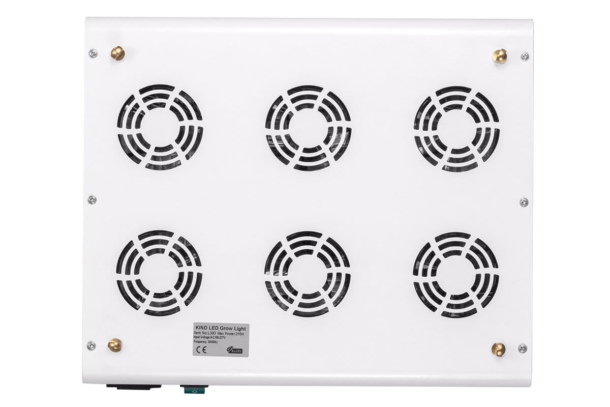 Angled view of White rectangular LED Grow Light with several clear circular LED light bulbs and silver KIND LED Logo.