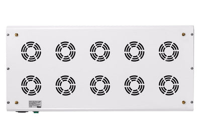 Top view of white rectangular LED Grow light, with ten circular vent ports.