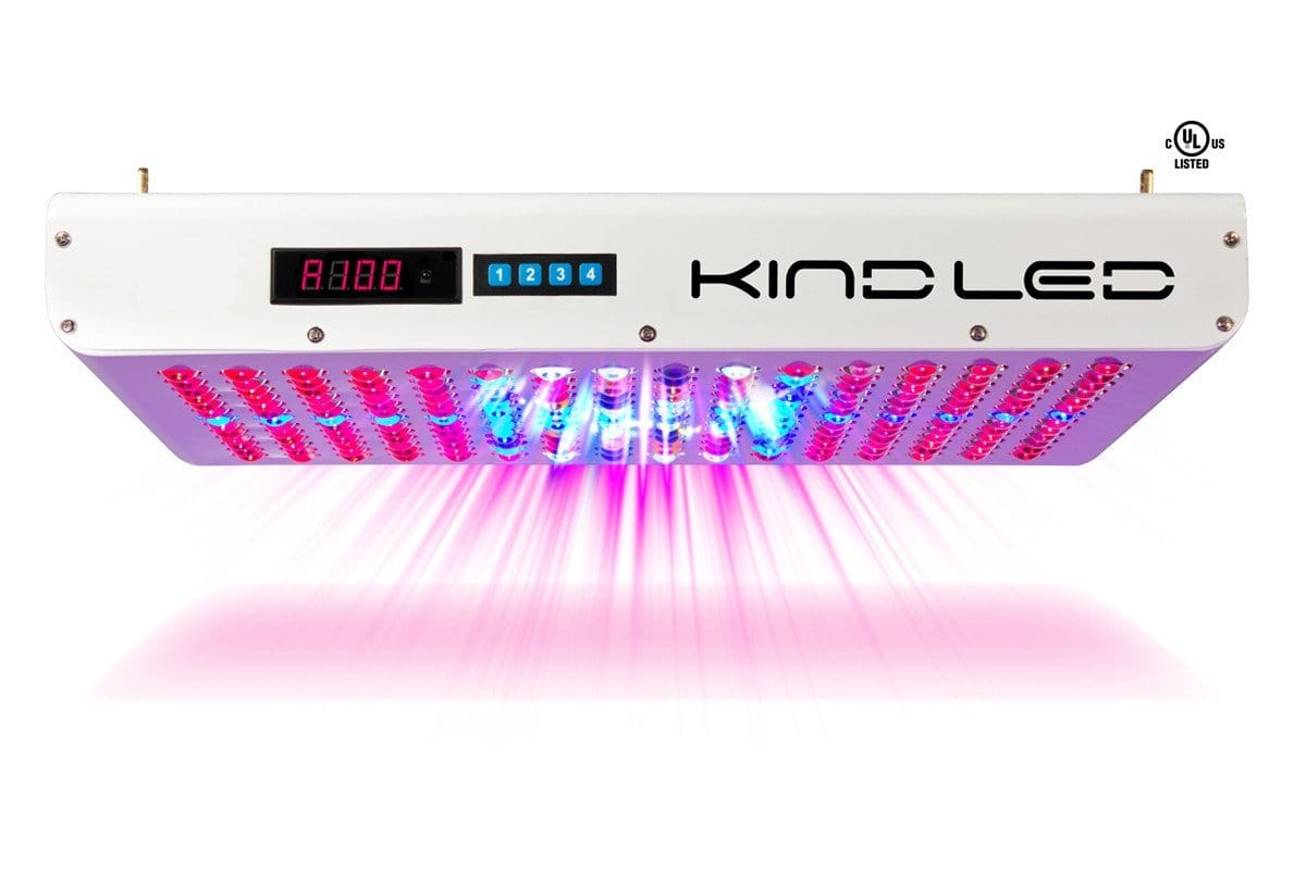 Profile view of an unlit white rectangular KIND LED grow light with digital display and numbered key pad.