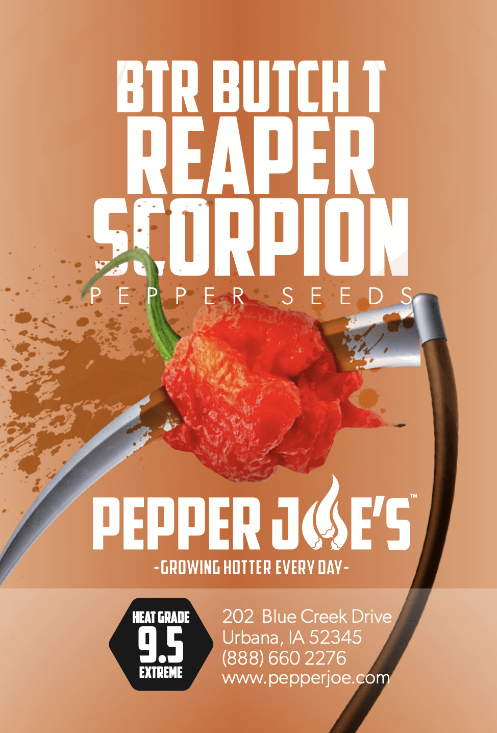 BTR Butch T Reaper Scorpion Hot Pepper - Pepper Joe's