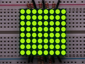"Small 1.2"" 8x8 Ultra Bright Yellow-Green LED Matrix"