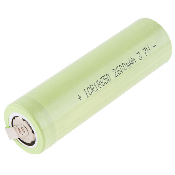 Polymer Lithium Ion Battery - 18650 Cell (2600mAh, Solder Tab)