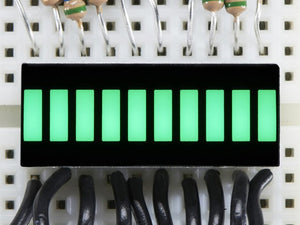 10 Segment Light Bar Graph LED Display - Pure Green