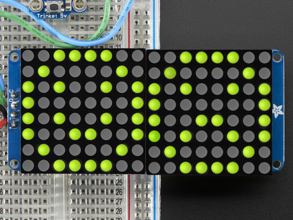 "16x8 1.2"" LED Matrix+Backpack UltraBright Round YellowGreen LEDs"