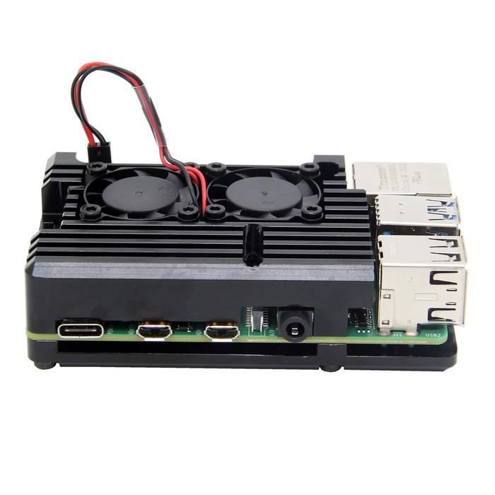 Black Raspberry Pi 4 Aluminum Alloy Cooling Case With Fans