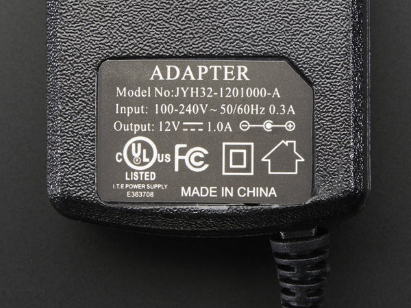 12 VDC 1000mA regulated switching power adapter - UL listed