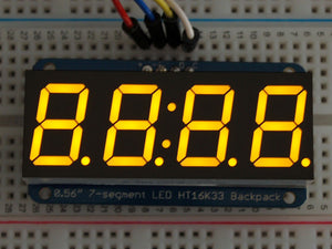 "Adafruit 0.56"" 4-Digit 7-Segment Display w/I2C Backpack - Yellow"