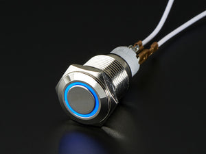 Rugged Metal On/Off Switch with Blue LED Ring