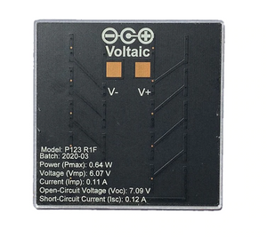 solar cell back view, showing soldering pads and voltage information