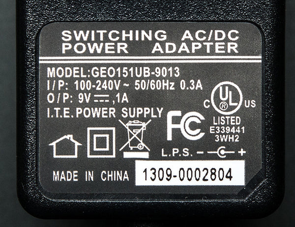 9 VDC 1000mA regulated switching power adapter - Perfect for Arduino!