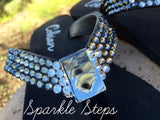 Black Diamond Ombre' Rockstar Swarovski Crystal Flat Flip-flops by Sparkle Steps