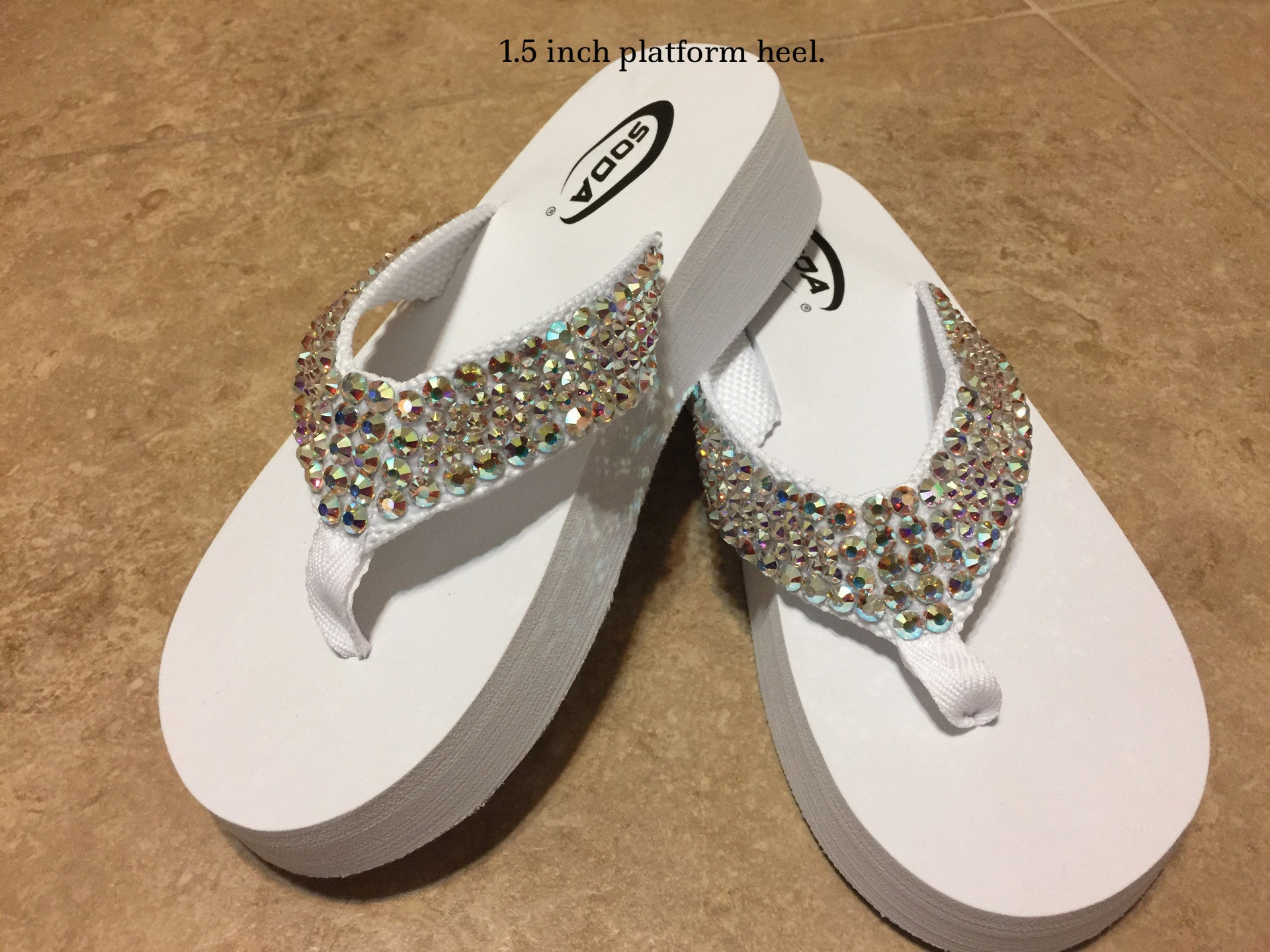 22807a16325e Diamond Diva s White Wedding Swarovksi Crystal Platform Flip-flops Sandals  by Sparkle Steps
