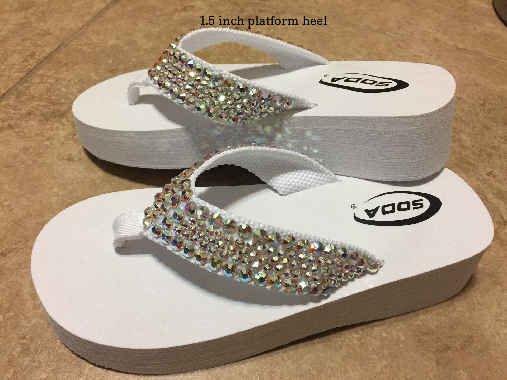 6e7f059c8d433f Diamond Diva s White Wedding Swarovksi Crystal Platform Flip-flops Sandals  by Sparkle Steps