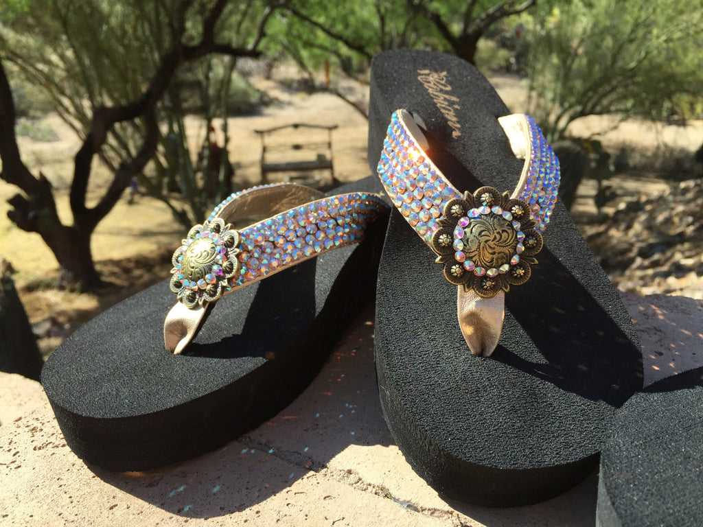 "Antique Iridesent Concho Diva's Swarovski Crystal 2"" Platform Flip-flop Sandals by Sparkle Steps"