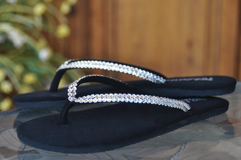 Diamond Diva's Swarovski Crystal (Flats) Flip-flop Sandals by Sparkle Steps
