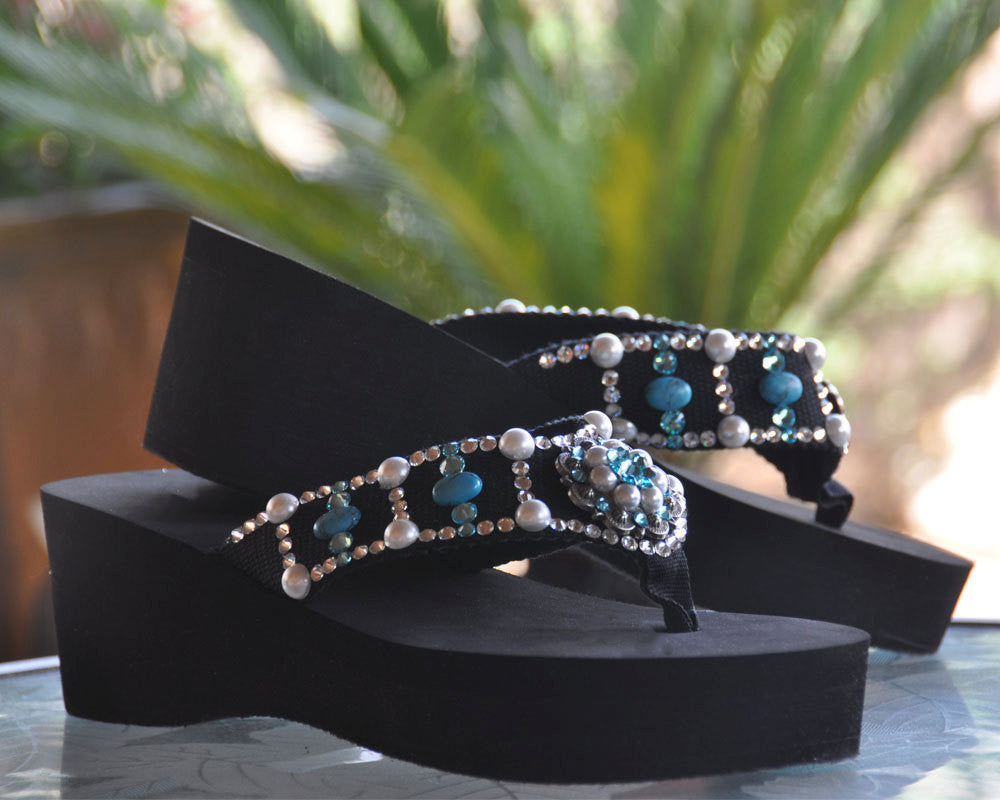 Turquoise and Pearl Concho Diva's Swarovski Crystal Flip Flops with a Country Flair.