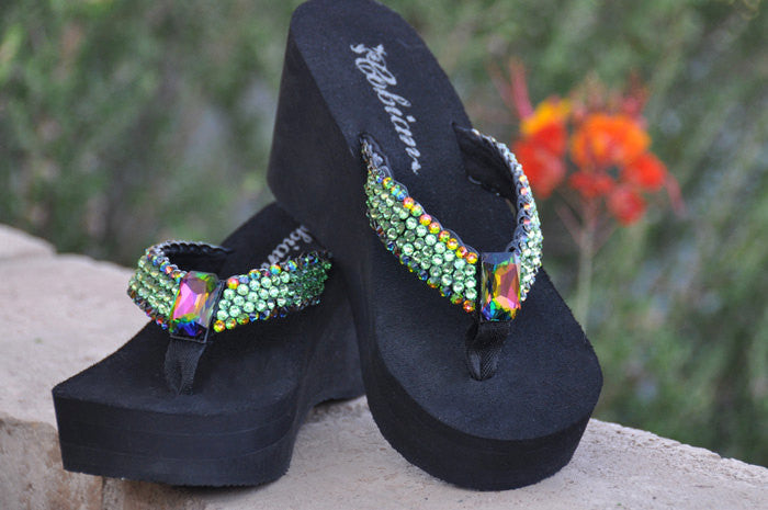 Green Goddess for Maleficent Swarovski Crystal Flip-flops by Sparkle Steps