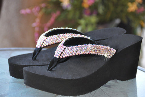 """Princess Diva's"" Swarovski Crystal Rhinestone Flip Flop Sandals For your Wedding by Sparkle Steps"