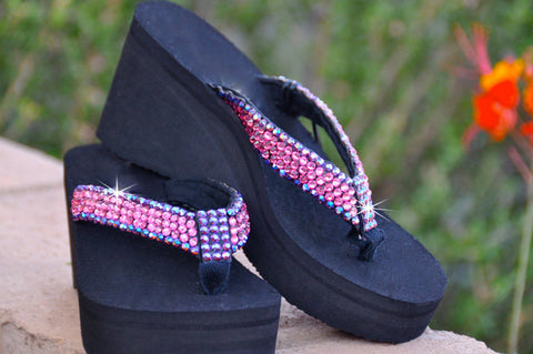 Ravishing Rose & Vivacious Violet Swarovski Crystal Embelished Flip-flops by Sparkle Steps