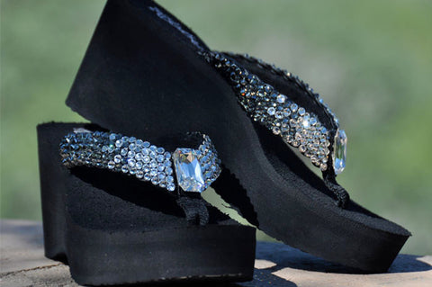 Clear to Black Ombre' Rockstar Swarovski Crystal Platform Flip-flops by Sparkle Steps
