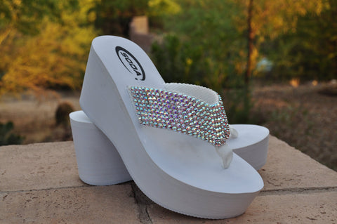 Diamond Diva's White Wedding Swarovksi Crystal Platform Flip-flops Sandals by Sparkle Steps