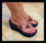 Orange Obsession Concho Diva's Swarovski Crystal Flip-flops by Sparkle Steps