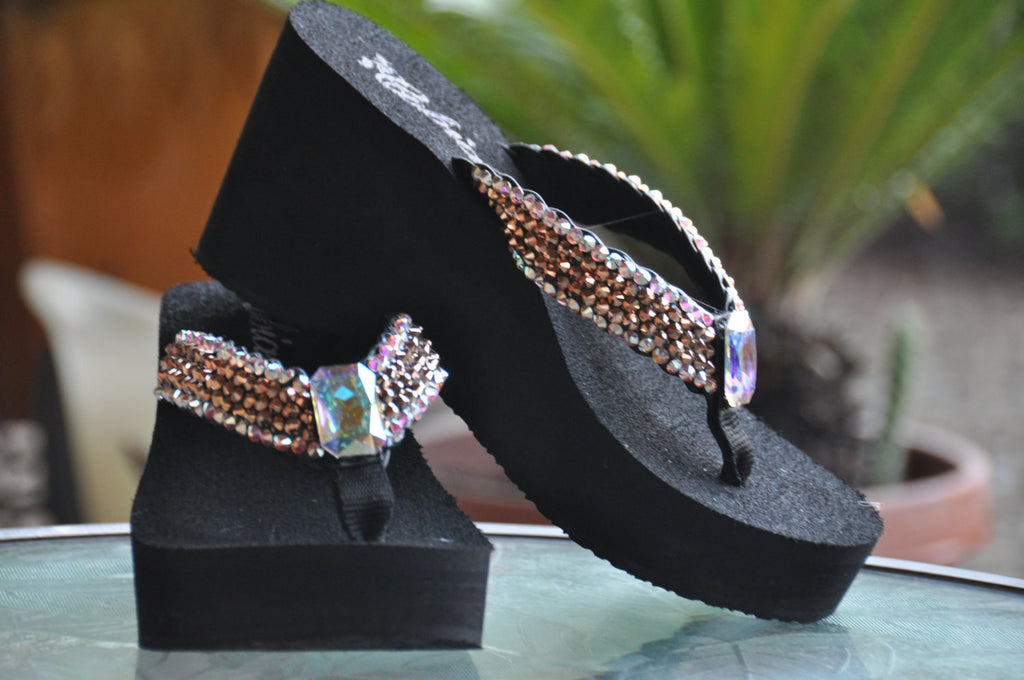 Rose-gold Iridescent Rockstar Platform Swarovski Crystal Flip-flop Sandals by Sparkle Steps
