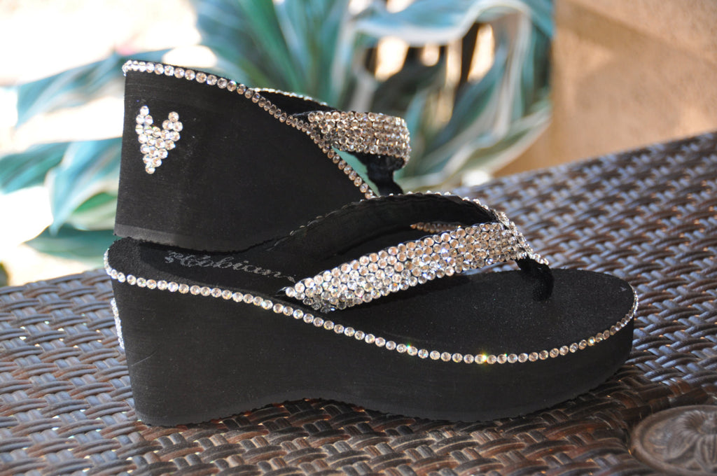 Las Vegas Diamond Diva's Swarovski Crystal Platform Flips Flops with a little extra BLING!!! By Sparkle Steps