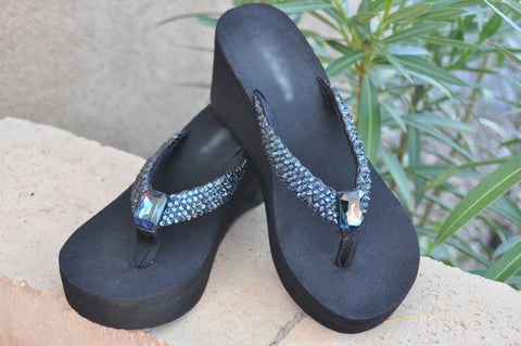 Navy Blue Swarovski Crystal Rockstar Flip-flops Sandals by Sparkle Steps